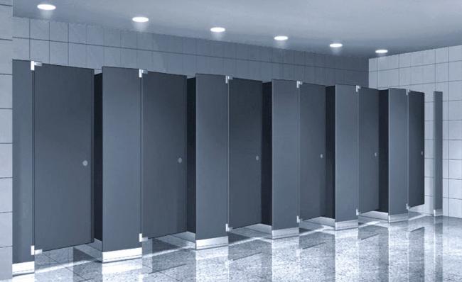 Vách ngăn nhà vệ sinh compact lắp đặt trong nhà hàng tiệc cưới