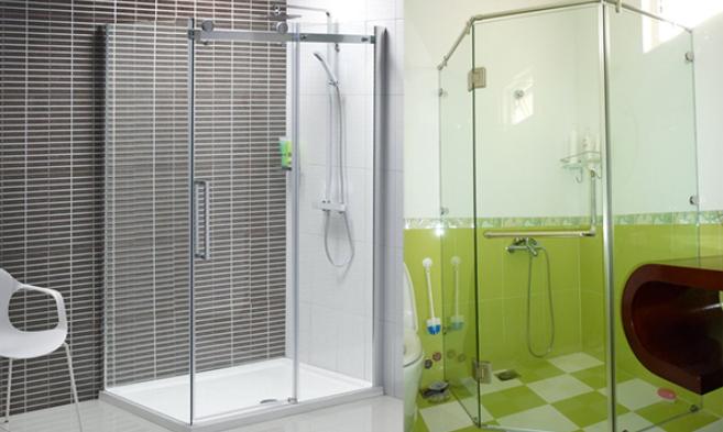 vách ngăn phòng tắm bằng kính cường lực trong suốt